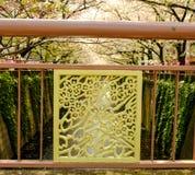 在桥梁障碍的樱花样式, Meguro河,东京,日本 佐仓后边节日灯笼和樱桃树 免版税库存图片