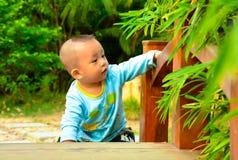 在桥梁(亚洲,中国,汉语)的一个儿童游戏 免版税库存照片