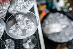 在桶的冰管 Coctail党 免版税库存照片