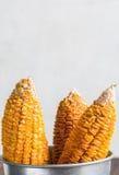 在桶的干玉米茎 免版税库存照片