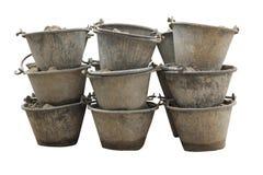 在桶的沙子被隔绝的水泥混合的 免版税图库摄影
