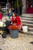 在梅尔卡多dos Lavradores或市场之外的Flowerseller工作者 库存照片
