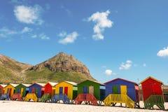 在梅曾贝赫海滩的Beachhouses,开普敦,南非 库存图片