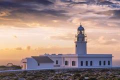 在梅诺卡岛海岸的cavalleria灯塔  免版税库存照片