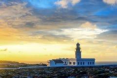 在梅诺卡岛海岸的cavalleria灯塔  免版税库存图片