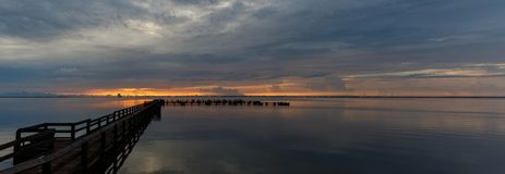 在梅里特岛,佛罗里达的日出 库存照片