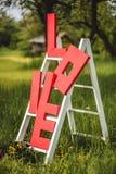 在梯子的红色词爱 免版税库存照片