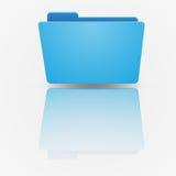 在梯度的背景的蓝色空的文件夹 库存照片