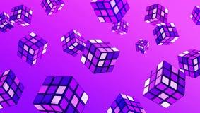 在梯度颜色的抽象立方体艺术 幻想创造性背景概念 免版税库存图片