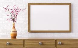 在梳妆台3d翻译上的空白的木制框架 库存例证