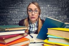 在检查前的害怕学生 免版税库存照片