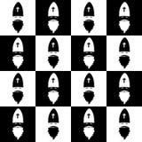 在棋枰背景的圣诞节无缝的样式 新的墙纸年 冬天黑白包裹与圣尼古拉 免版税库存照片