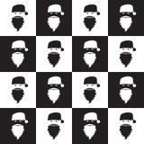在棋枰背景的圣诞节无缝的样式 新的墙纸年 冬天黑白包裹与圣诞老人 图库摄影