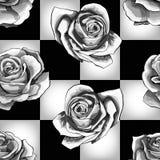 在棋枰背景的白玫瑰 传染媒介无缝的样式设计 库存例证