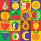 在棋盘设计的流行艺术果子平的样式 免版税图库摄影