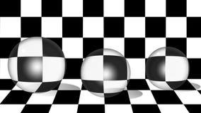 在棋背景的玻璃球形 免版税图库摄影