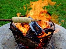 在棍子的面包在营火 免版税库存照片