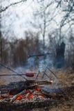 在棍子的香肠在火烤了 免版税图库摄影