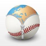在棒球球里面的行星地球 库存图片