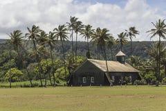在棕榈树中的乡下教会 图库摄影