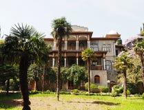 在棕榈树中的热带别墅 库存照片