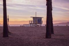 在棕榈树之间的救生员驻地在威尼斯海滩,加利福尼亚 库存照片