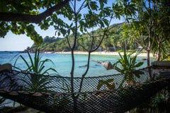 在棕榈树之间的空的吊床在热带海滩 免版税库存照片
