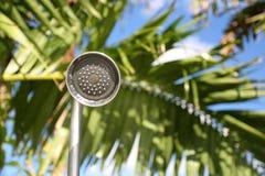在棕榈树前面的豪华室外阵雨 库存照片