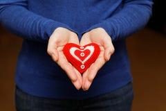 在棕榈的红色心脏 库存照片