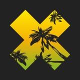 在棕榈题材的传染媒介例证,在T恤杉的邮票,时尚 库存例证