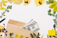 在棕色信封,秋天的一百美元钞票 库存照片