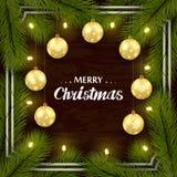 在棕色木墙壁上的新年的祝贺的集合 树枝,金黄球,照明 框架,与阴影 库存例证