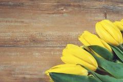 在棕色木板的黄色郁金香 背景,样式,纹理 免版税库存图片