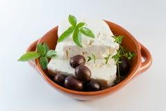 在棕色板材的希腊白软干酪 免版税库存照片