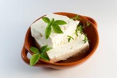 在棕色板材的希腊白软干酪 库存照片