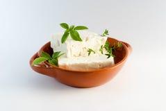 在棕色板材的希腊白软干酪 库存图片