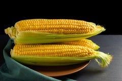 在棕色板材的玉米 免版税库存图片
