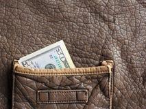 在棕色皮包的金钱 库存图片