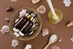 在棕色背景的化妆油瓶与壳样式 库存图片