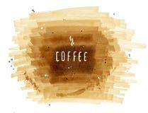 在棕色背景的手拉的题字咖啡 库存图片