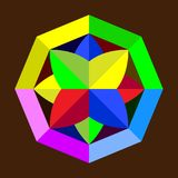 在棕色背景的抽象几何图商标 图库摄影