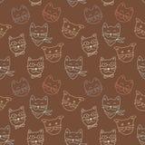 在棕色背景的猫样式 免版税库存照片