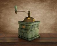 在棕色背景的老木咖啡 库存照片