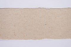 在棕色背景的被剥去的白皮书 免版税库存照片