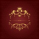 在棕色背景的金装饰品 免版税图库摄影