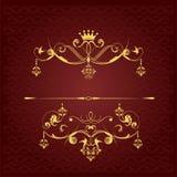 在棕色背景的金装饰品 免版税库存图片