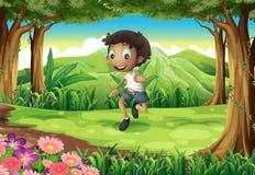 在森林中间的一个精力充沛的年轻男孩 向量例证