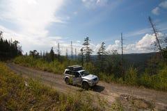 在森林公路的汽车 免版税图库摄影
