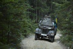 在森林公路的老汽车 免版税库存照片