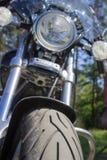 在森林前面停放的摩托车巡洋舰 免版税图库摄影